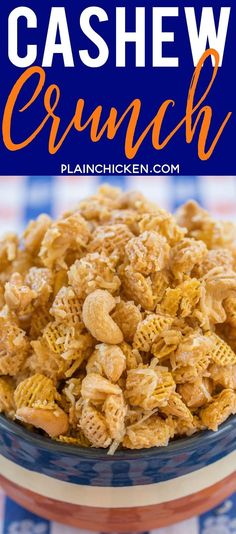 Cashews, Coconut and Crispix tossed in a sweet brown sugar syrup. Makes a ton. Great for easy homemade holiday gifts. Trail Mix Recipes, Snack Mix Recipes, Appetizer Recipes, Cooking Recipes, Snack Mixes, Crispix Snack Mix Recipe, Chex Recipes, Recipies, Savory Snacks