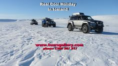 Three SuperJeeps in convoy across the vast frozen plains of Iceland with Toursgallery on our February Iceland & Norway escorted small group tour.