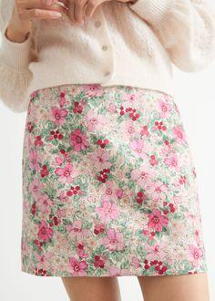 Linen Blend Mini Skirt - Pink Florals - Mini skirts - & Other Stories GB