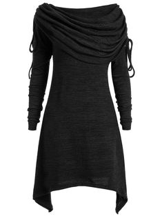 $14.26---T-shirts | Black 3xl Long Foldover Collar Plus Size Ruched Top - Gamiss