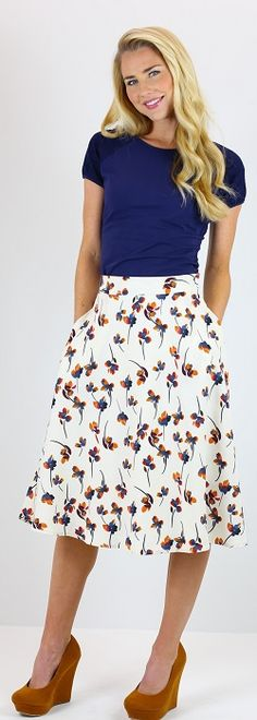 Cream Floral Circle Skirt [MSF1100] - $49.99 : Mikarose Boutique, Reinventing Modesty