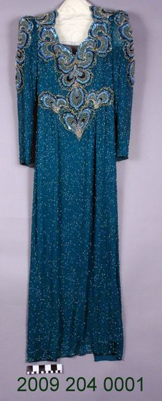 Teal Silk Heavily Beaded Evening Gown (1960)