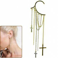 $1.43 Punk The Cross Chain Tassels Ear Cuff Wrap Earring
