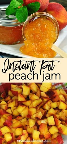Homemade Peach Jam Recipe - - You know what I love about summer? All the peach recipes! Not eating your fresh fruits as fast as you had hoped? Don't want to toss them? Make homemade jam a. Instant Pot Pressure Cooker, Pressure Cooker Recipes, Slow Cooker, Sauce Pizza, Banana Split Dessert, Canning Peaches, Preserving Peaches, Homemade Jelly, Jelly Recipes