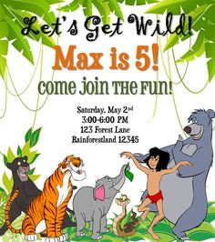 The Jungle Book Birthday Invitation by SGInvitations on Etsy
