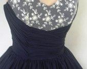 A navy chiffon and ivory lace 50s cocktail dress