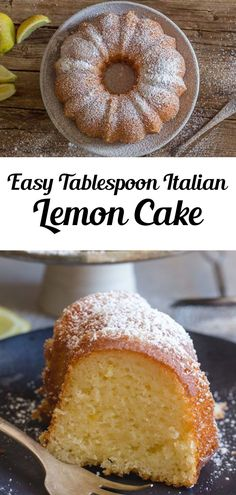 Italian Lemon Cake a delicious moist Cake, and all you need is a tablespoon for measurement. Fast and Easy using pantry staples, and so good. The perfect Breakfast, Snack or Dessert Cake Recipe. This cake is great for a special Morning anytime of the year! Try it for brunch throughout the year, even summer! #cake #lemoncake Dessert Cake Recipes, Homemade Cake Recipes, Cupcake Recipes, Easy Desserts, Delicious Desserts, Cupcake Cakes, Yummy Food, Cupcakes, Citrus Recipes