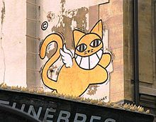 Did you know: The artist of Mr Chat (the famous yellow graffiti cat) was originally anonymous, until he (Thoma Vuille) was caught in the act of creating the cat in Franco Suisse, Street Art, Beast, Disney Characters, Fictional Characters, Wings, Photos, Sketches, Anonymous
