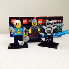 3 Lego Minifigures Lot Series 15 4 9 11 Janitor Crutch Guy Blue Laser Man | eBay
