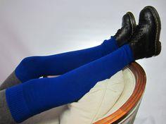 Thigh High Leg Warmer Boot Socks Royal Blue Tall Long Cotton Knit Sock A1585