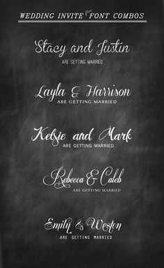Wedding Invitation Font Combinations ~~ {10 Free [and 1 paid] Fonts w/ easy…