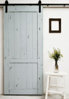 The Country Vintage barn door features a lightly distressed finish on a classic barn door design. This style is versatile, and fits well in almost any setting. All Dogberry barn doors are constructed Barn Door Designs, Closet Doors, Pantry Doors, Vintage Country, Interior Barn Doors, Barn Door Hardware, My New Room, Sliding Doors, Home Remodeling