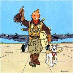Result for Tintin & Milou • Tintin in aviator clothing with Snowy • Tintin, Herge j'aime