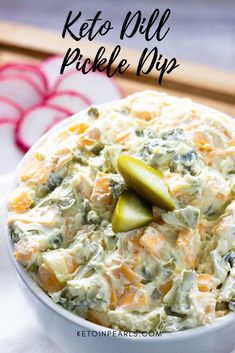 Looking for a delicious keto appetizer? This yummy keto recipe for dill pickle dip is nearly zero carb and is perfect as a keto snack keto party food or keto appetizer! If you love pickles you're sure to love this keto pickle dip! Click The Image To Learn Keto Foods, Keto Snacks, Keto Recipes, Healthy Recipes, Keto Meal, Low Carb Appetizers, Appetizer Recipes, Vegetarian Appetizers, Dill Pickle Dip