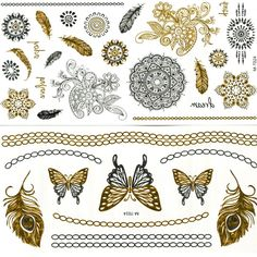 24 Piece Tatoo Necklace Jewelry Silver Temporary Metallic Tattoo Stickers Stencils Waterproof Glitter Golden Tattoos Inspired A+