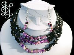 Candy Rock Seduction Set (from the Class 'n' Glass Collection) is a triple glass necklace with black and purple iridescent chip beads and matching earrings - $60 at Sasha L Jewels LLC