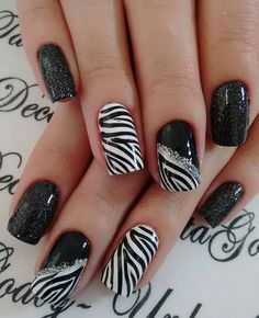 Zebra Nail Designs, Square Nail Designs, Long Nail Designs, Nail Polish Designs, Gel Polish, Zebra Acrylic Nails, Zebra Print Nails, Stylish Nails, Trendy Nails