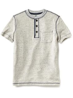 Slub-Knit Henley for Boys Moda Junior, Baby Boy Outfits, Kids Outfits, Baby Boy T Shirt, Denim T Shirt, Camisa Polo, Kids Fashion Boy, Boys T Shirts, Kids Wear