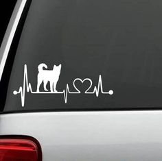 "Do You Love Your Siberian Husky? Show off your Love by putting this Unique HeartBeat Design Decal on your vehicle. Handmade in USA. Exclusive Custom Design Decal measures 7.5"" wide x 3.25"" tall The st"