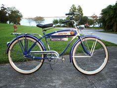 1936 Schwinn Autocycle Vintage Cycles, Vintage Bikes, Retro Bikes, Old Bicycle, Old Bikes, Power Bike, Bike Style, Bike Parts, Classic Bikes