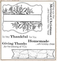 Darcie's Cling Mounted Rubber Stamps - Floral Label Sentiments,$8.79
