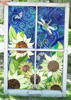 https://flic.kr/p/5kwcDF   donna's sunflower   Glass on glass  In old window  very big