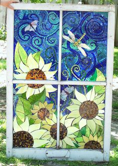 donna's sunflower | Glass on glass In old window very big | Kathleen Coyle (Glass Crow) | Flickr