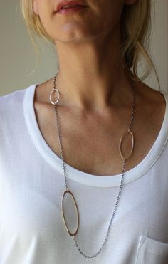 long textured oval oxidized silver and gold modern necklace. $187.50, via Etsy.