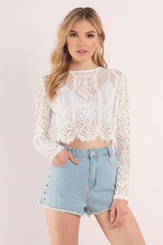 Looking for the Le Bain White Lace Crop Top? | Find Crop Tops and more at Tobi! - 50% Off Your First Order - Fast & Free Shipping For All Orders!