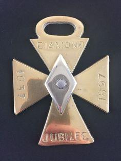Antique Queen Victoria Diamond Jubilee 1837-1897 Maltese Cross Horse Brass RARE