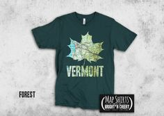 Vermont Map Maple Leaf Silhouette T Shirt, Green Mountain State gift, autumn in New England, foliage, gift idea