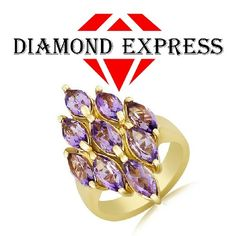 """4.05 Ct Marquise Cut Amethyst 14K Gold 14K Gold Cluster Ring """"Mother\'s Day Gift"""". Starting at $89"""