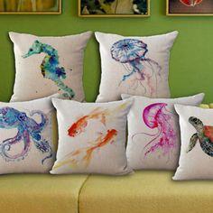 Cheap Organismi marini tartaruga mizuki pesci rossi cotone lino cuscino…