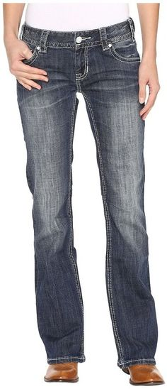 Rock and Roll Cowgirl Low Rise Bootcut Jeans in Dark Vintage W0-9605