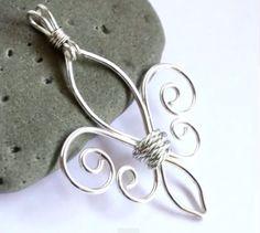 wire wrapped fleur-de-lis pendant