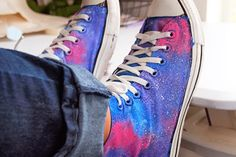 G+ fan Monique Malcolm shows how to recreate her hand-painted galaxy #chuckhack: http://www.sparklecollective.com/galaxy-painted-converse/ #converse #chucktaylor