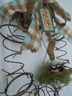 Beyond The Picket Fence: Spring (literally) Nest Wreath this lady is amazing!