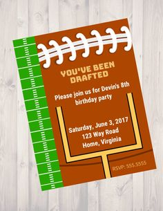 You've Been Drafted Football Party Invitation, Digital Invite, Birthday Party, Sports Themed Party, American Football, Game Day, Draft Pick by SandJCreativeDesigns on Etsy https://www.etsy.com/listing/490485366/youve-been-drafted-football-party