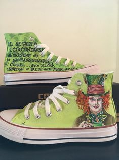 Hand painted canvas shoes custom Mad Hatter Alice in Painted Converse, Painted Canvas Shoes, Converse All Star, Mad Hatter, Baskets Converse, I Love My Shoes, Snoopy, Acrylic Colors, Vans Sk8