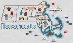 Massachusetts Map - Cross Stitch Pattern - I NEED TO DO THIS (ALSO OHIO AND CALIFORNIA)