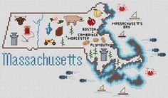 Massachusetts Map - Cross Stitch Pattern