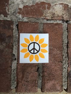 Peace Sign Sunflower Decal  Car Decal  Yeti Decal  by SteviLus