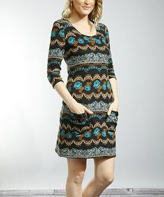 Take a look at this Black & Turquoise Floral Scoop Neck Dress by Young Threads on #zulily today!