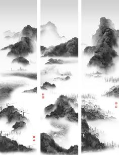 Phantom Landscape III Triptych by  杨泳梁 (Yang Yongliang), 2007