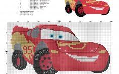 Flash McQueen Disney Cars Quatre Roues grille point de croix