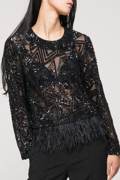 Sequin top with feather - FrontRowShop