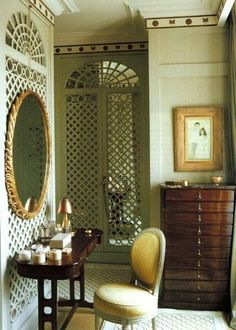 I love the use of lattice work in interior rooms. Treillage has been used in design throughout history--- it has been used in Islamic. Room Interior, Interior And Exterior, Tocador Vanity, Dressing Room Closet, Dressing Area, Dressing Rooms, Dressing Tables, Lattice Wall, Interior Decorating