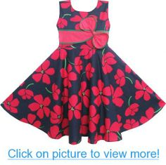 Girls Dress Navy Blue Flower Bow Tie Party Princess Beach Sundress Size 6-10