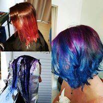 Mermaid hair- purple to blue ombre, cut is a choppy inverted bob.
