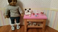 18 inch doll Bakery Stand complete with food by FuzzyButtFarm